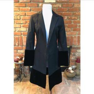Velvety TRIM Hemline Cuffs Long Dress Jacket Coat